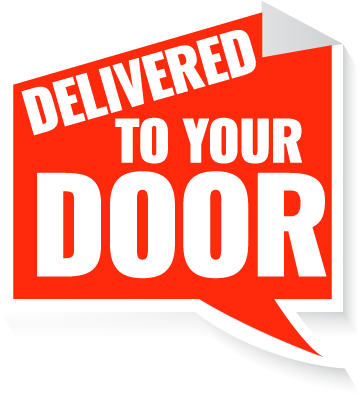 An image of a sign saying 'delivered to your door'
