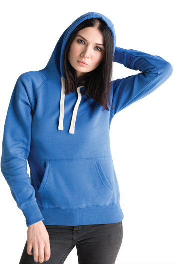 An image of a woman wearing a blue hoody